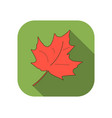 maple leaf flat icon with long shadow autumn leaf vector image vector image