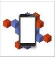 modern smartphone on geometric background vector image vector image