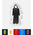 muslim paper sticker with hand drawn elements vector image