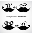 Mustaches with faces set vector image vector image