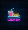 neon food and drink lunch box glowing signboard vector image vector image