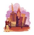 new york city landscape cartoon vector image