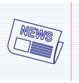newspaper sign navy line icon on notebook vector image vector image