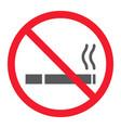 no smoking glyph icon prohibition and forbidden vector image vector image