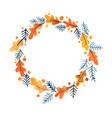oak leaf and pine leaf wreath watercolor vector image