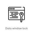 outline data window lock icon isolated black vector image vector image