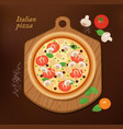 pizza on board and the ingredients for pizza vector image