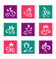 postage stamps with floral icons vector image vector image