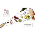 realistic wine elements composition vector image