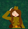 russian woman retro soldier military woman in the vector image vector image