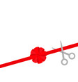 scissors cut straight red ribbon on right big vector image