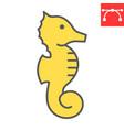 seahorse color line icon sea and ocean animals vector image vector image