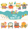 set cute animals with winter theme on white vector image vector image