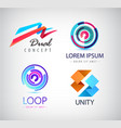 set of abstract logos isolated loop dual vector image