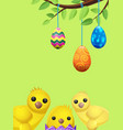 set of easter chicken and suspended color eggs vector image