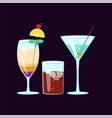 set of exotic alcoholic cocktails vector image vector image