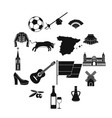 spain travel icons set simple style vector image vector image
