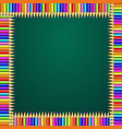 square frame made of colorful rainbow pencils on vector image