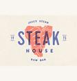 steak logo meat label logo with steak vector image vector image