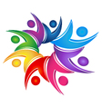 Swooshes figures teamwork logo vector image vector image