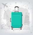 travel bag with different travel elements vector image vector image
