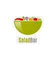 vegetables salad logo salad bar design on white vector image