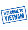 Vietnam blue square grunge welcome isolated stamp vector image vector image