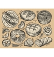 Vintage hand drawn sketch set bakery vector image vector image
