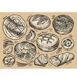 Vintage hand drawn sketch set bakery vector image
