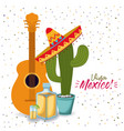 viva mexico colorful poster with guitar tequila vector image vector image