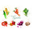 watercolor vegetables set delicious vector image vector image