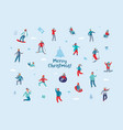 winter holidays characters happy people skiing vector image