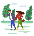 woman and man in casual clothes walk in park vector image vector image