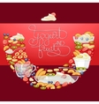 yogurt fruit and berry round banner vector image vector image