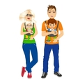 parents holding holding their children vector image