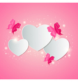 Valentine background with white paper hearts vector image