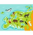 European map with wildlife animals vector image