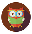 Flat Wisdom Bird Owl Reading Book Circle Icon with vector image