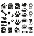 24 black and white pet care elements silhouette vector image