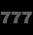 777 text in polygonal mesh style vector image vector image