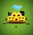 background to halloween with funny pumpkins vector image vector image