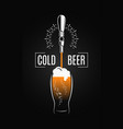 beer tap with beer glass on black background vector image vector image