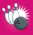 bowling pop art cartoon vector image