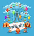 carnival fun park poster vector image vector image