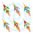 cartoon rockets vector image vector image