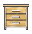 chest of drawers front view in colored crayon vector image vector image