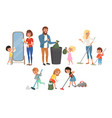 children helping their parents with housework vector image vector image