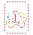 coloring book of big toy dump truck vector image