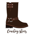 cowboy shoes icon with text vector image vector image