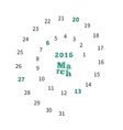 creative calendar for march 2016 with dates vector image vector image